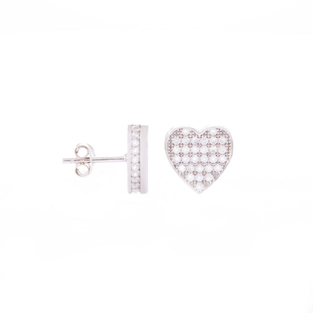Sterling Silver Love Heart Cubic Zirconia Stud Earrings