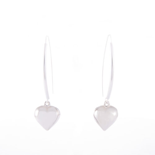 Our Sterling Silver Puffed Heart Drop Earrings. Shown here, in stunning 925 sterling. In short, this pair of elegant little gems are full of love. And, make the ideal addition to any jewellery collection. Or as the perfect gift for someone special.