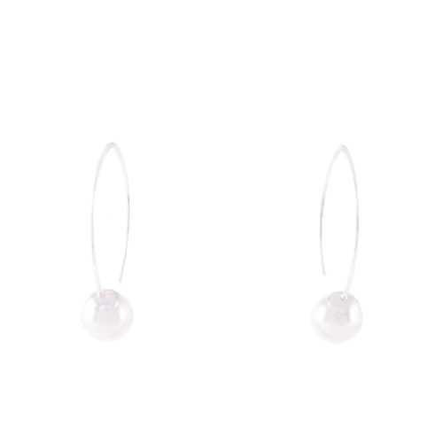 Our White Pearl Drop Earrings 8mm. Shown here, hand-made in 925 sterling. In short, this petite pair of gems are full of elegance and style. The perfect addition to any jewelry collection or as a special gift idea.