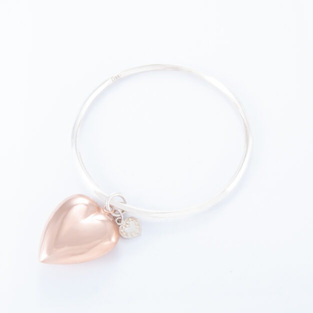 2 Tone Large Puffed Heart Bangle