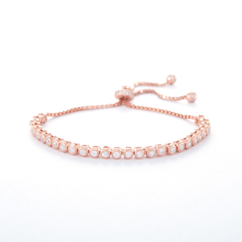 Our 2mm Rose Gold Cubic Zirconia Adjustable Tennis Bracelet. Shown here, plated over 925 sterling. Also with multiple sparkling, round CZ. In short, this beautiful piece is the perfect gift for someone special. Or as a self-indulgent addition to your own jewellery collection.