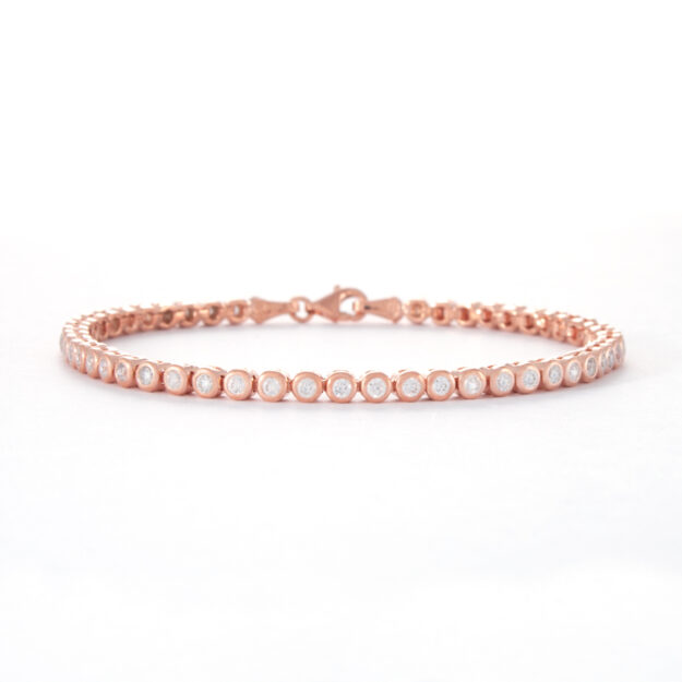2mm Rose Gold Cubic Zirconia Tennis Bracelet