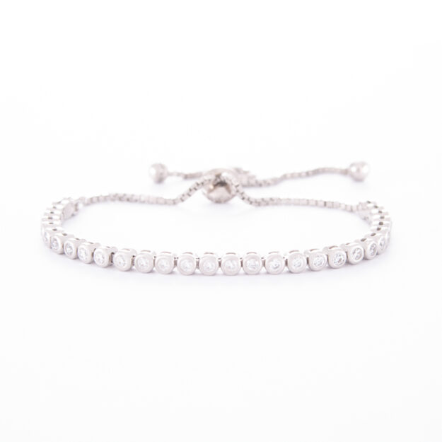 2mm Sterling Silver Cubic Zirconia Adjustable Tennis Bracelet