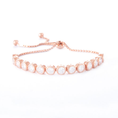 Our 4mm Rose Gold Cubic Zirconia Adjustable Tennis Bracelet. Shown here, plated over 925 sterling. as well as with numerous round sparkling CZ. In short, this is an amazing elegant piece. The ideal self-indulgent addition to your own jewellery collection. Or as a gift for someone special.