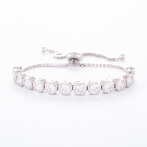 Our 4mm Sterling Silver Cubic Zirconia Adjustable Tennis Bracelet. Shown here, with numerous round sparkling CZ, as well as finished in 925 sterling. In short, this is an amazing elegant, yet classic piece. The ultimate addition to your jewellery collection. Or as a gift for someone extra special.