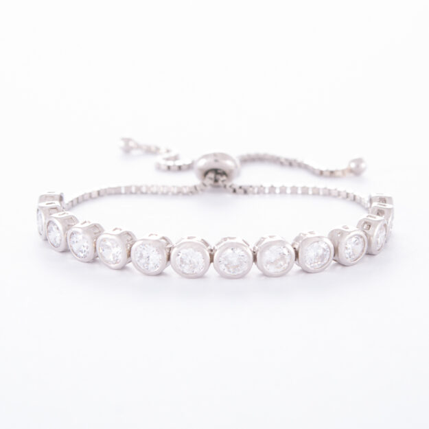 4mm Sterling Silver Cubic Zirconia Adjustable Tennis Bracelet