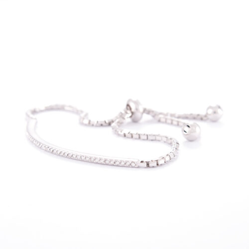 Our Fine Adjustable Sterling Silver Cubic Zirconia Bracelet. Shown here, with multiple petite CZ and a flexible adjustable band. As well as a stunning 925 sterling finish. In short, this beautiful piece is full of sparkle. It's the perfect addition to any personal jewelry collection. Or as the idea gift for someone extra special.
