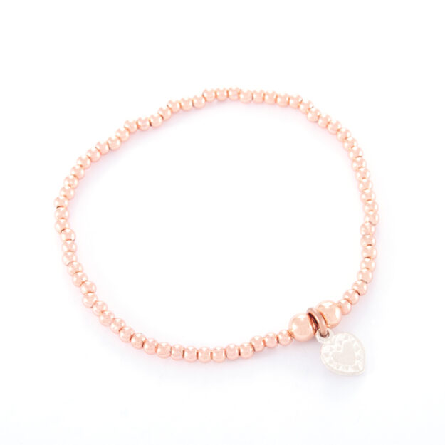 Rose Gold Ball Bracelet with Small Sterling Silver Love Heart