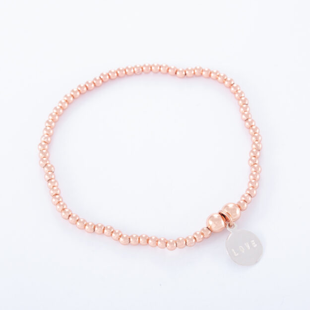 Rose Gold Ball Bracelet with Sterling Silver Love Disc