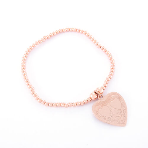 Our Rose Gold Double Heart Ball Bracelet. Shown here, hand-made in rose plated over 925 sterling. There's twice the love in this stunning piece. In short, it's the perfect self-indulgent purchase for your own personal jewelry collection. Or as the ideal gift for that somebody very special.