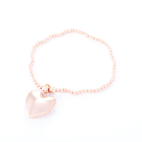 Our Rose Gold Puffed Heart Ball Bracelet. Shown here, hand-made in rose plated 925 sterling. There's lots of love in this beautiful piece. In short, it's ideal self-indulgent addition to any personal jewelry collection. Or as the perfect gift for that someone special.