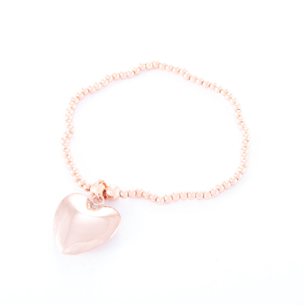 Rose Gold Puffed Heart Ball Bracelet