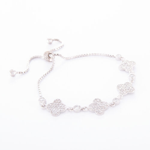 Our Sterling Silver Cubic Zirconia Lucky Adjustable Bracelet. Shown here, in stunning 925 sterling. With multiple sparkling CZ. As well as four of the luckiest clovers and adjustable strands. In short, it's the perfect gift for someone special. Or as a self-indulgent addition to your own jewelry collection.