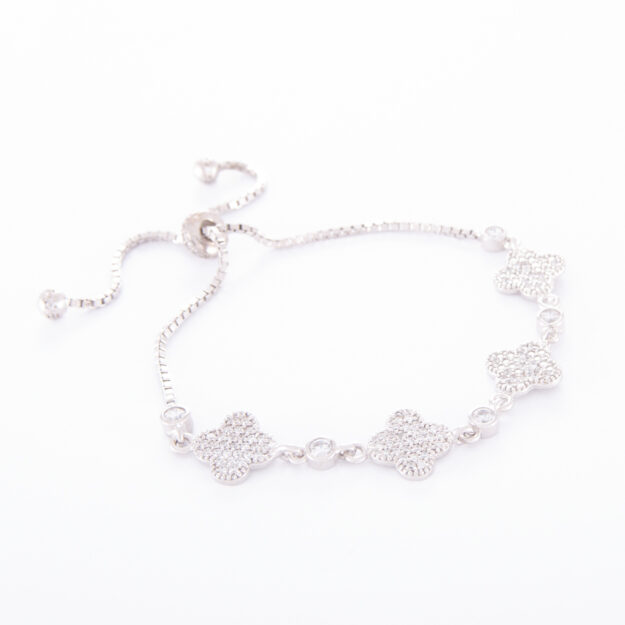 Sterling Silver Cubic Zirconia Lucky Adjustable Bracelet