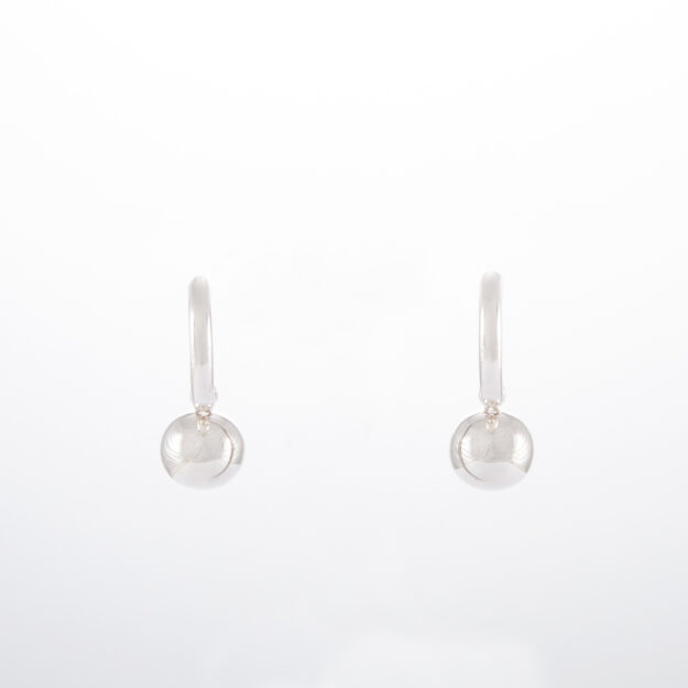 Sterling Silver Hoop Ball Drop Earrings 10mm