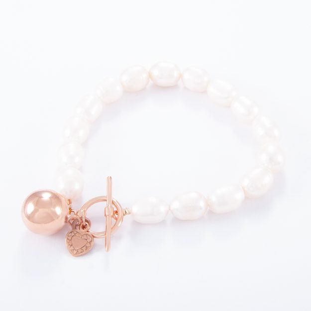 Freshwater Pearl Rose Gold Love Heart Ball Bracelet