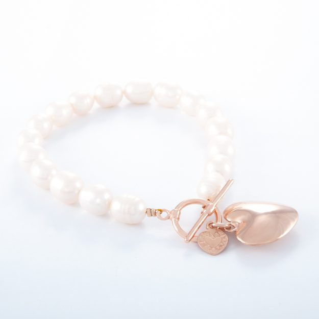 Freshwater Pearl Rose Gold Small Puffed Heart Bracelet
