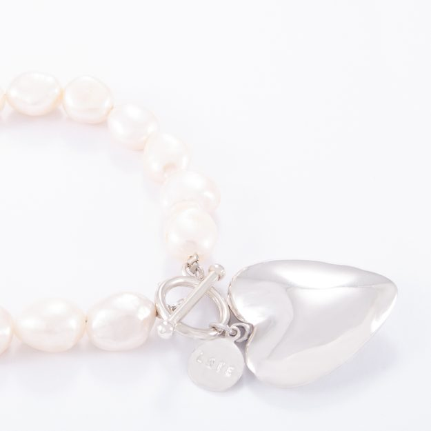 Freshwater Pearl Sterling Silver Large Puffed Heart Bracelet
