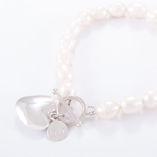 Freshwater Pearl Sterling Silver Small Puffed Heart Bracelet