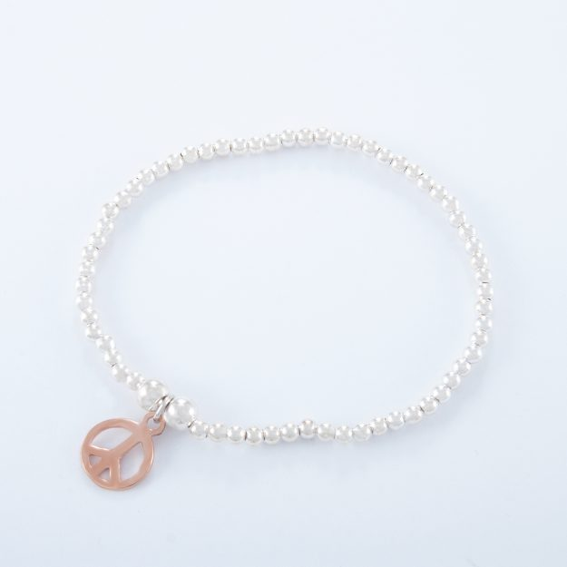 Sterling Silver Ball Bracelet with Rose Gold Peace Charm