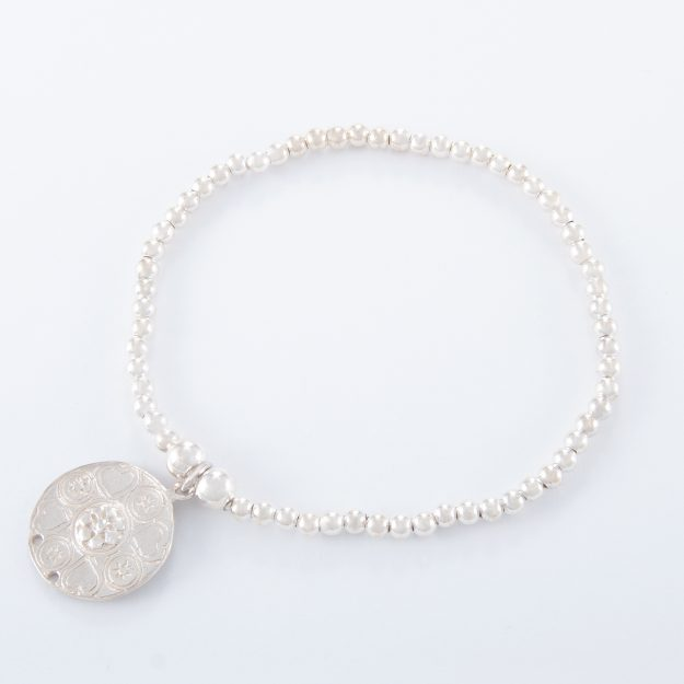 Sterling Silver Flower Disc Ball Bracelet