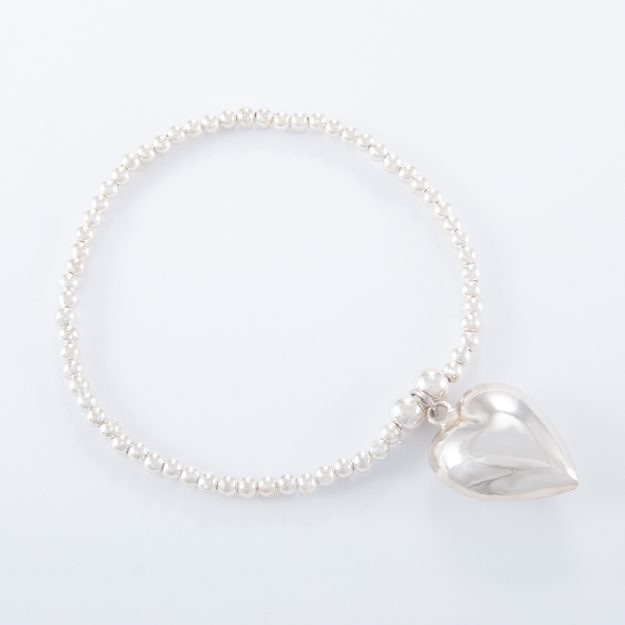 Sterling Silver Puffed Heart Ball Bracelet