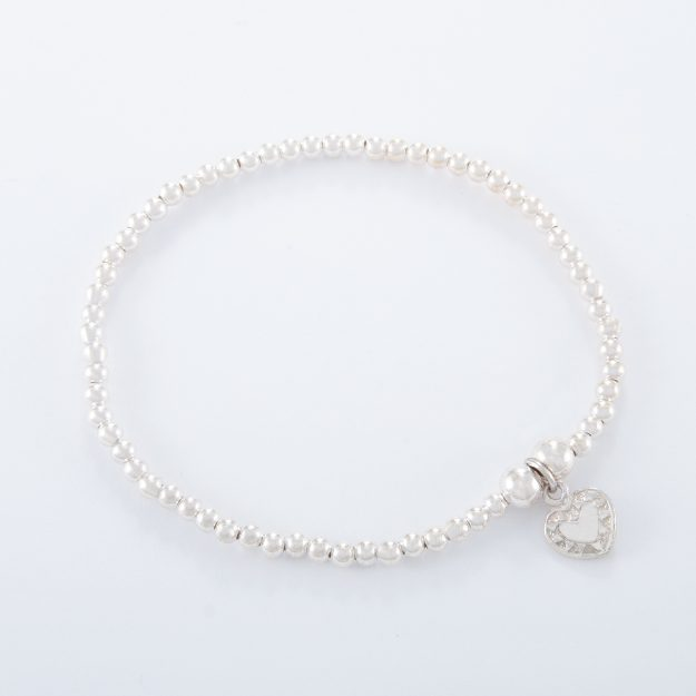Sterling Silver Small Flat Heart Ball Bracelet