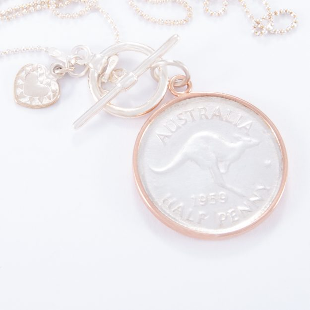 Fine Sterling Silver Fob Necklace and 2 Tone Half Penny