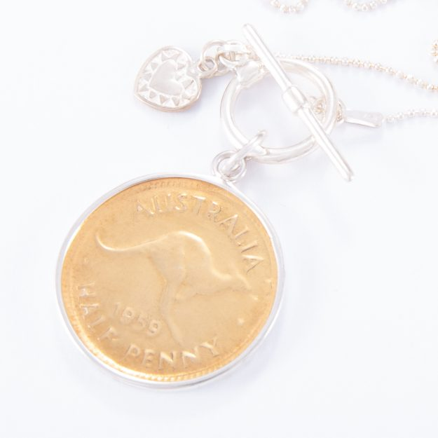 Fine Sterling Silver Fob Necklace and Gold Half Penny