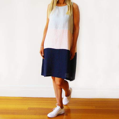 Our Franki Sleeveless Linen Dress. Is an absolute must for this summer. Shown here, in 100% pure linen, with a comfy a-line design and side pockets. As well as a gorgeous sky blue, pale pink and navy 3 in one colour detail. Furthermore, our Franki dress offers a free size relaxed fit for ladies' 10 to 16. In short, it's the ideal self-indulgent addition to your wardrobe. Or as the perfect gift for that extra special someone.