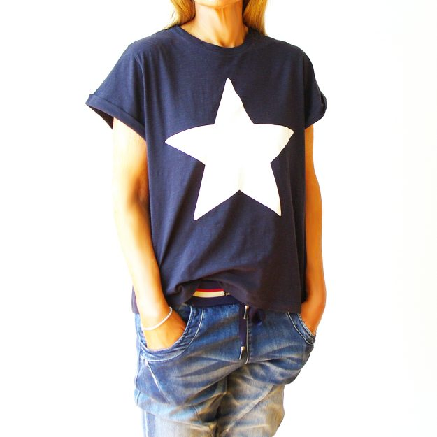 Navy Cotton White Star T-Shirt