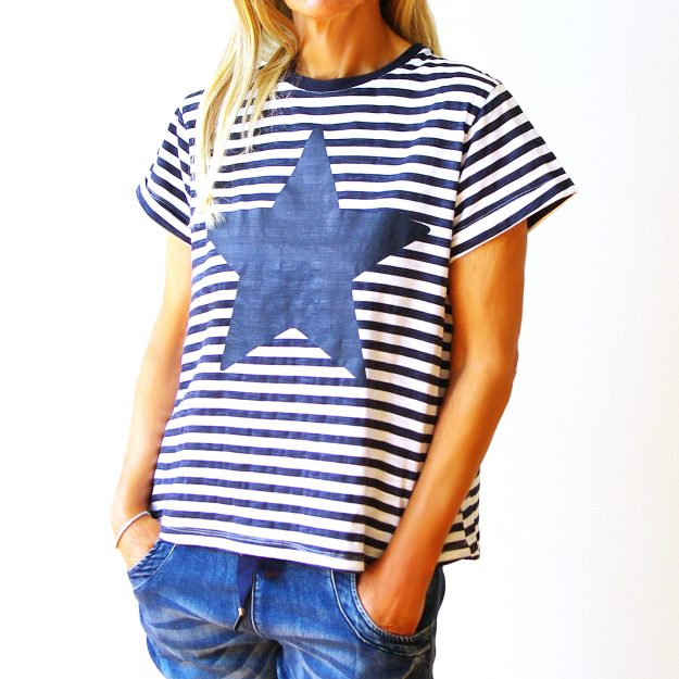 Navy & White Screen Printed Cotton Star T-Shirt