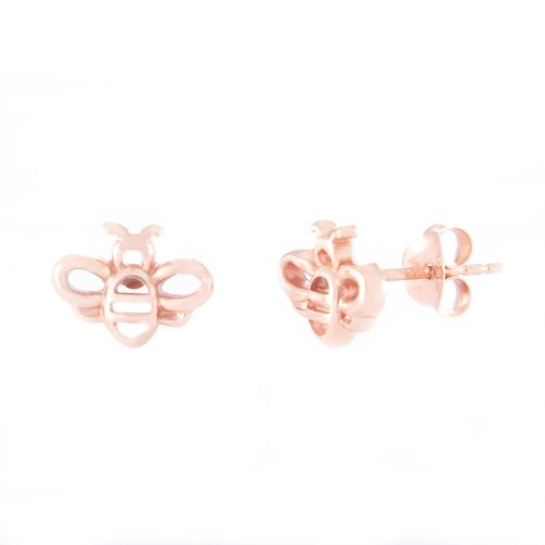 Our Rose Gold Bumble Bee Stud Earrings. Shown here, beautifully plated over 925 sterling silver. In short, there's lots of fun in this cute little pair of gems! They are the ideal gift for someone extra special. Or as a self-indulgent addition to your own jewellery collection.