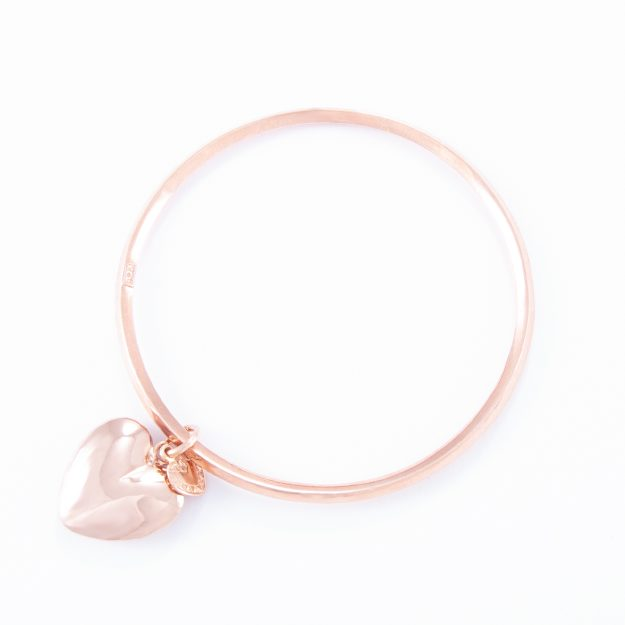 Rose Gold Small Puffed Heart Bangle