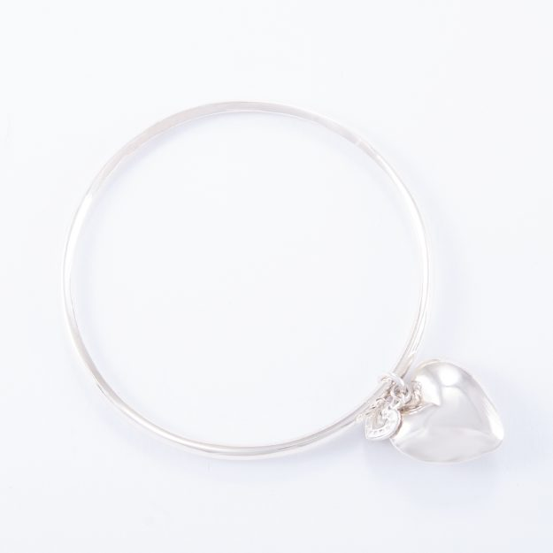 Sterling Silver Small Puffed Heart Bangle