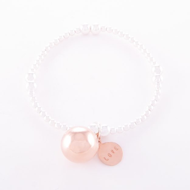 Two-Tone Sterling Silver Rose Gold Love Ball Bracelet