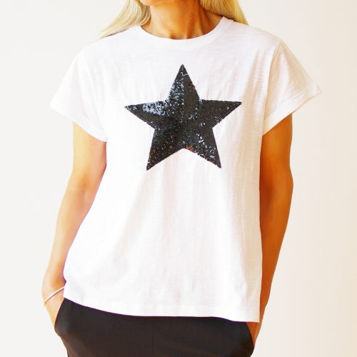 Our White Cotton Black Sequin Star T-Shirt. Shown here, with a lovely cuffed sleeve, as well as a stunning sequin black star. In short, this casually designed tee has a relaxed fit. That's full of sparkles, fun, and style. Available in 3 fab sizes, S, M & L. It's the perfect self-indulgent spring purchase to add to your own wardrobe. Or as the ideal summer gift idea for that someone extra special.