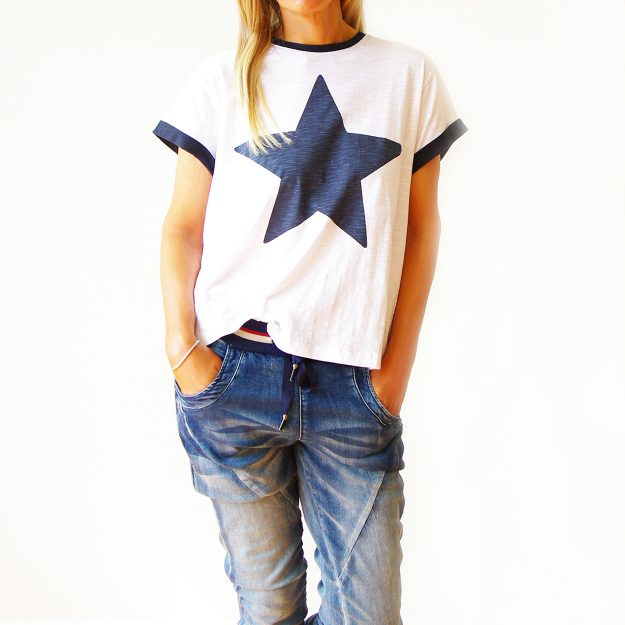 White Cotton Navy Star & Trim T-Shirt