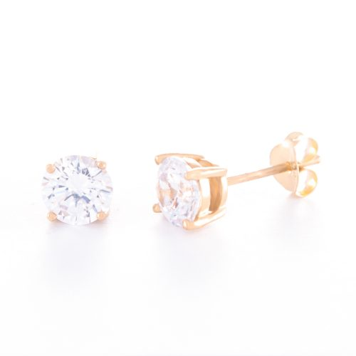 Our 6mm Cubic Zirconia Gold Stud Earrings. Shown here, beautifully handcrafted in gold over 925 sterling silver. As well as with a stunning CZ that's full of sparkles. In short, there's lots of love in this little pair of gems! The perfect self-indulgent addition to your own collection. Or as the ideal gift for that someone very special.