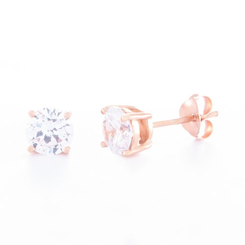 Our 6mm Cubic Zirconia Rose Gold Stud Earrings. Shown here, in rose over 925 sterling as well as set with a stunning sparkling CZ. In short, there's lots of love in this pair of little gems! They'll make the perfect gift for someone very special. Or as a self-indulgent purchase to add to your own jewellery collection.
