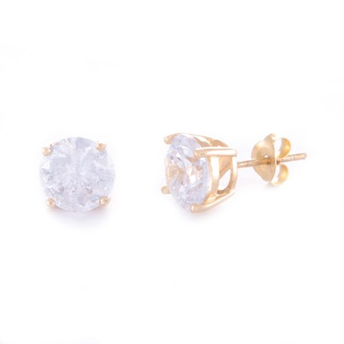 Our 8mm Cubic Zirconia Gold Stud Earrings. Shown here, beautifully handcrafted with gold over 925 sterling silver. As well as with a stunning CZ, full of sparkle. In short, this pair of gems are the perfect gift for somebody extra special. Or as a self-indulgent addition to your own jewellery collection.