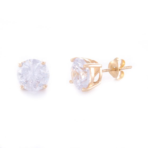 8mm Cubic Zirconia Gold Stud Earrings
