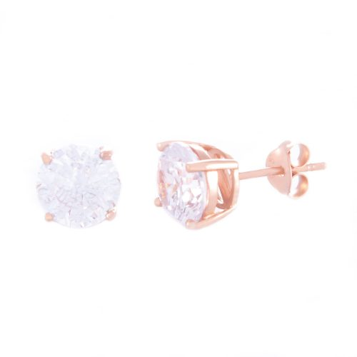 Our 8mm Cubic Zirconia Rose Gold Stud Earrings. Shown here, beautifully plated over 925 sterling silver. With a stunning sparkling CZ. In short, there's lots of love in this pair of gems! They are the perfect gift for someone extra special. Or as a self-indulgent purchase to add to your own jewellery collection.