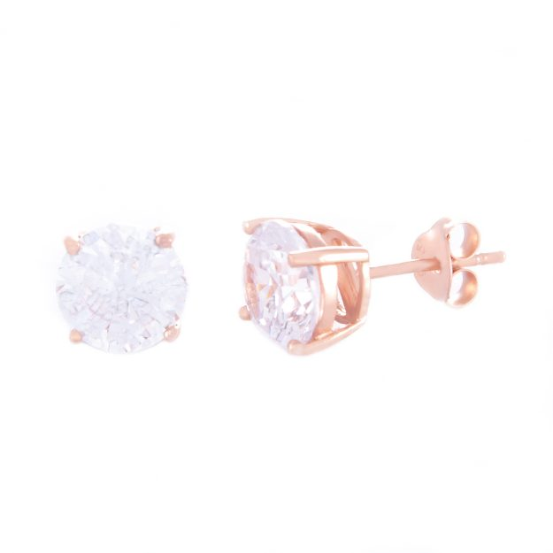 8mm Cubic Zirconia Rose Gold Stud Earrings