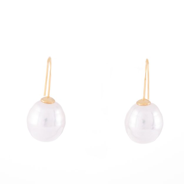 Large Pearl Gold Drop Earrings