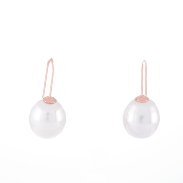Large Pearl Rose Gold Drop Earrings