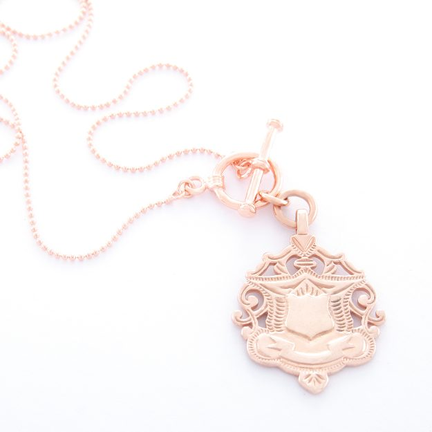 18 Inch Rose Gold Shield Ball Chain Necklace