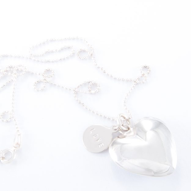 Fine Sterling Silver Small Puffed Heart Ball Chain Necklace