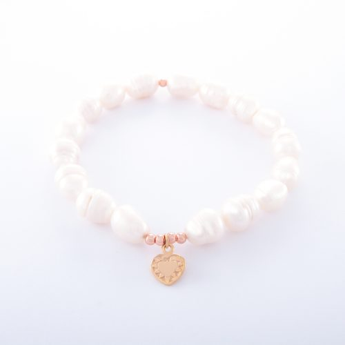 Our Freshwater Pearl Bracelet with Small Rose Gold Heart. Shown here with a beautifully engraved pink gold heart over 925 sterling. In short, this stunning piece is full of love and elegance. It's the perfect gift for someone special. Or, as a self-indulgent purchase to add to your own jewelry collection.