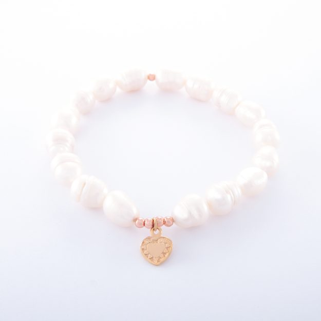 Freshwater Pearl Bracelet with Small Rose Gold Heart